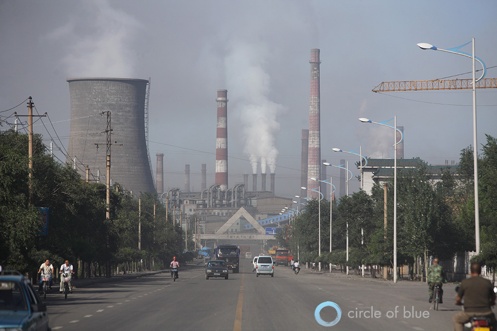 Baotou China  city photos gallery : smoke stacks of the Baosteel Complex dominate the skyline of Baotou ...