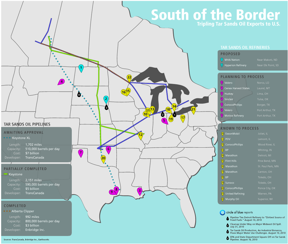 Infographic Tripling Tar Sands Oil Imports Pipeline And Refinery Map From Canada To U S Circle Of Blue