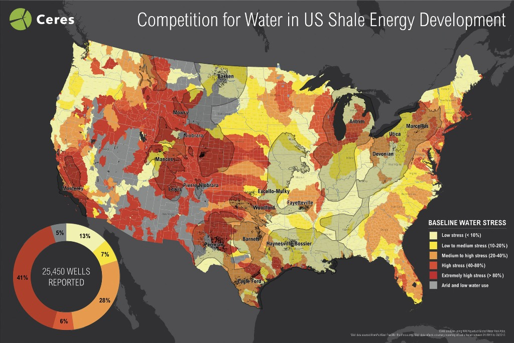 Report Half Of US Fracking Wells Drilled In Highly Water - Us fracking map 2016