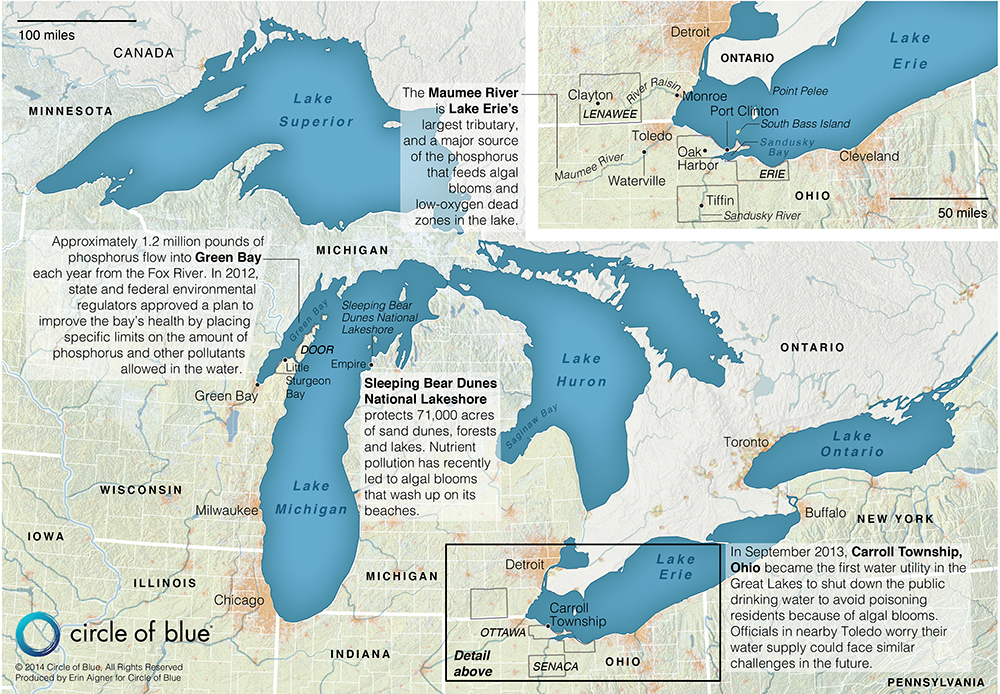 Map Harmful Algal Blooms In The Great Lakes Basin Circle Of Blue - Us map of great lakes