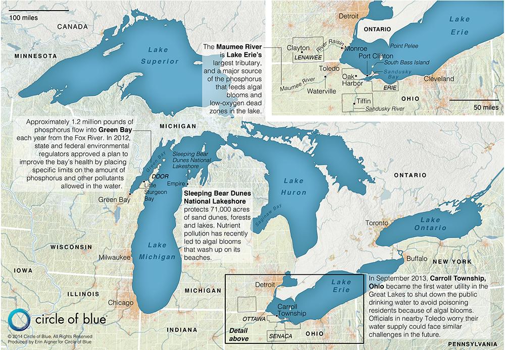 Map Harmful Algal Blooms In The Great Lakes Basin Circle Of Blue - Lake michigan us map