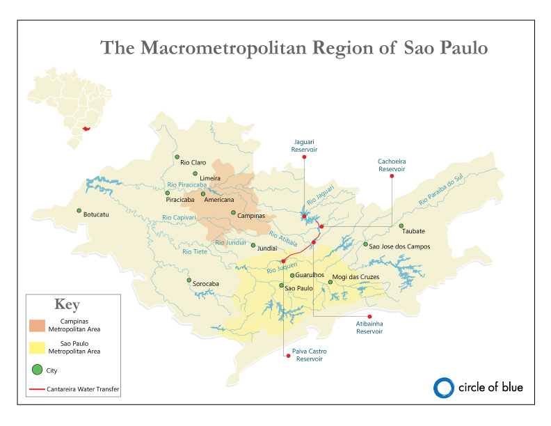 Map Sao Paulo Water Supply Systems Circle Of Blue - Map of sao paulo