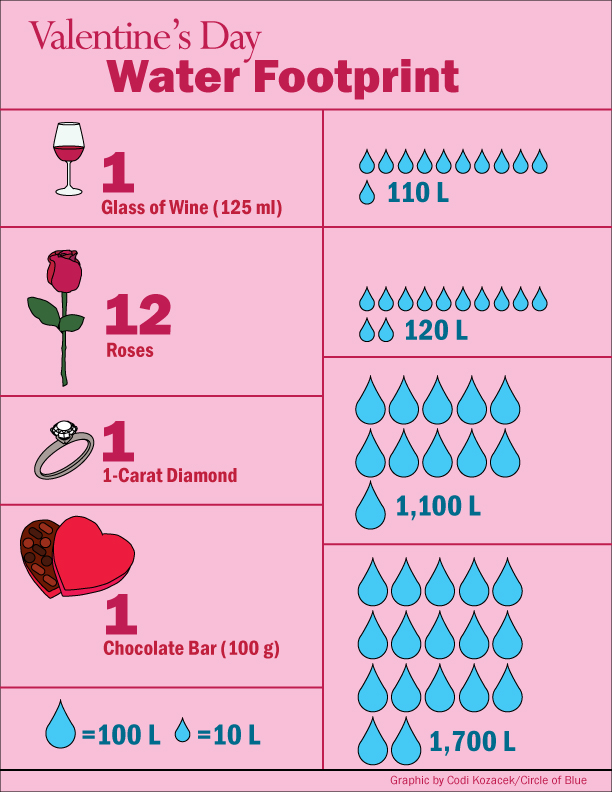Infographic Water Footprint Of Valentines Day Circle