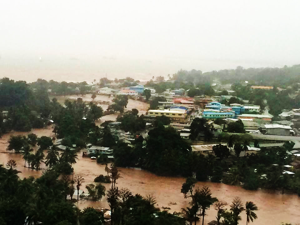 During the 2014 storm, the Mataniko River overflowed its banks in Honiara. The floods killed 21 people and triggered an outbreak of infectious diarrhea that killed 10 more. Photo © Ministry of Climate Change and Natural Disasters