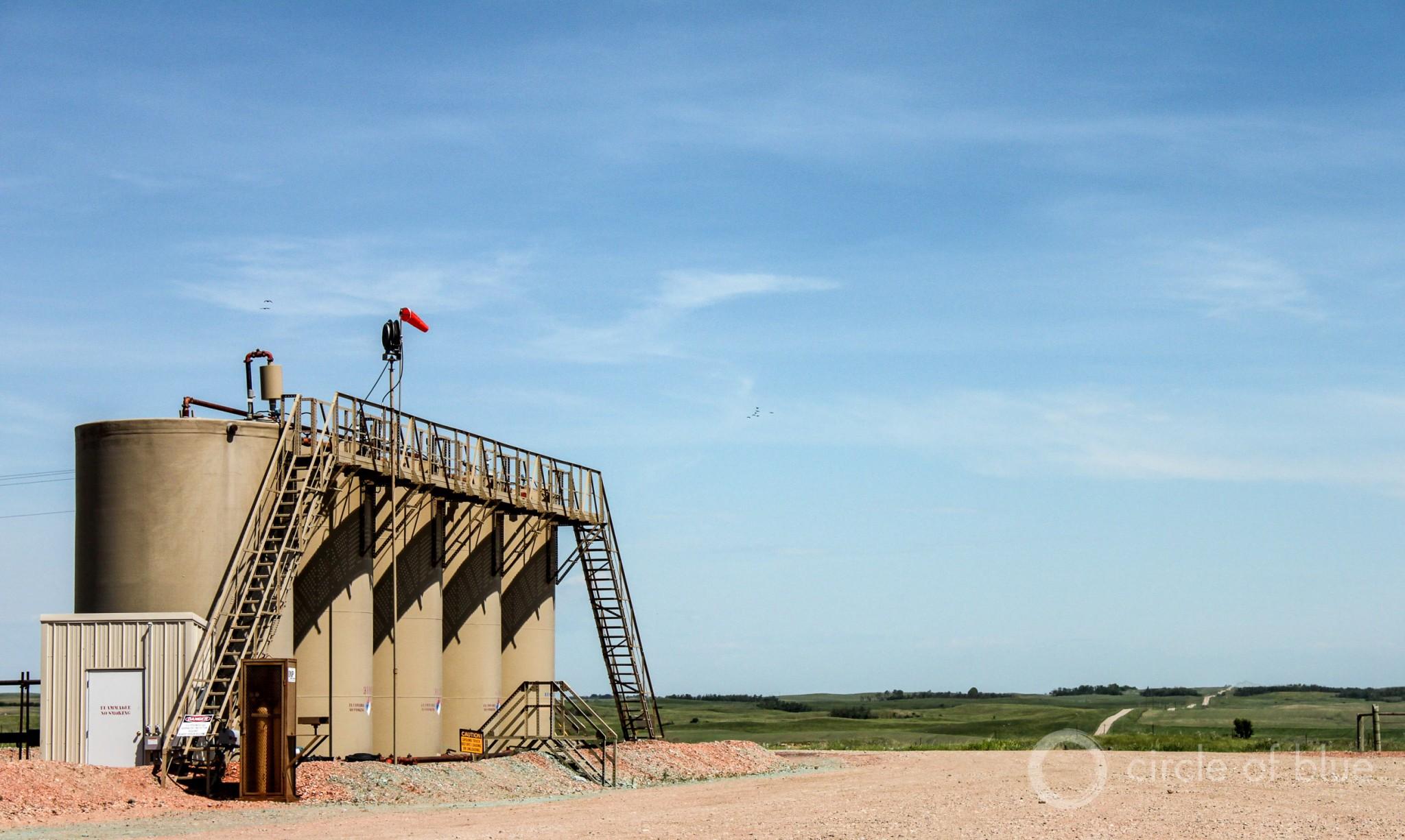 The Dakota Access pipeline would carry 500,000 barrels of crude oil a day from North Dakota's Bakken oil field, one of the world's largest oil producers. Photo © Codi Kozacek / Circle of Blue