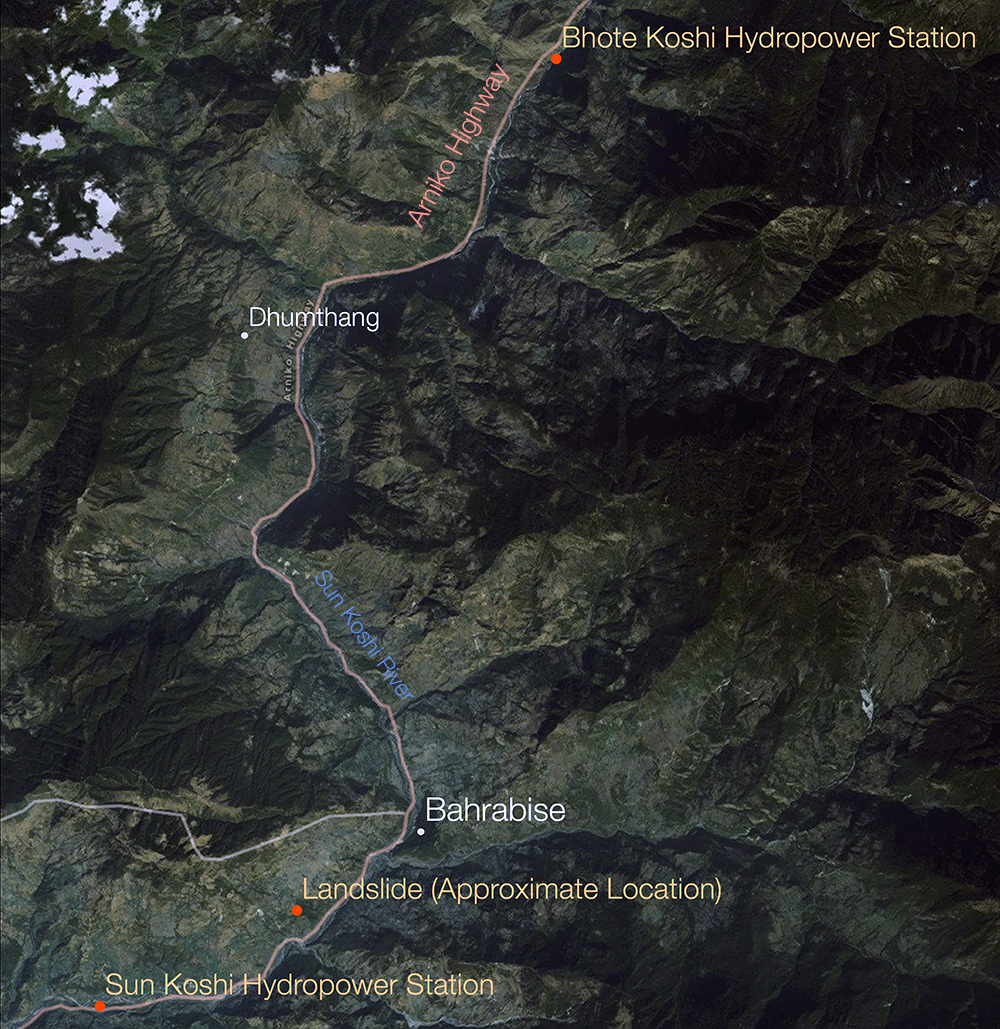 Nepal Himalaya landslide Sun Koshi dam flood